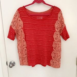 Free People We the Free Crochet Panel Striped Tee